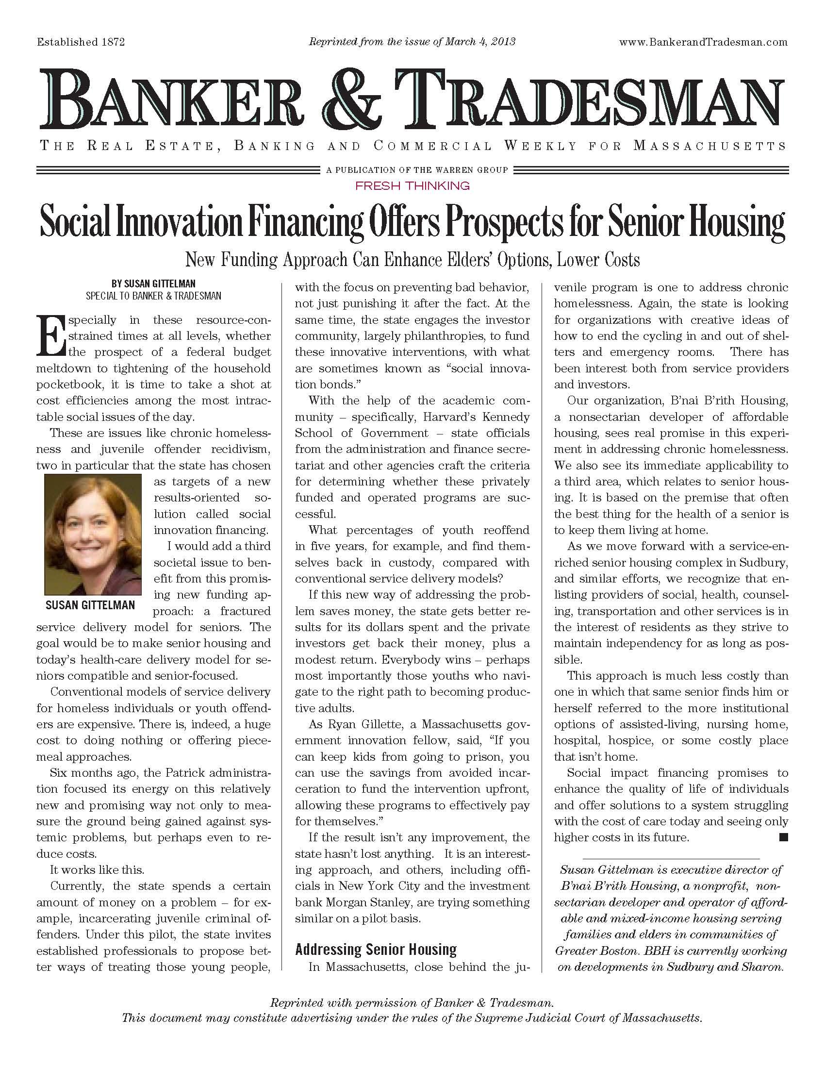 Social Innovation Financing Offers Prospects for Senior Housing