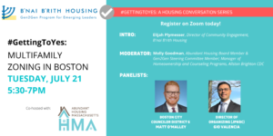Gen2Gen hosts Councilor O'Malley and JPNDC's Gio Valencia for a #GettingToYes on Multifamily webinar!
